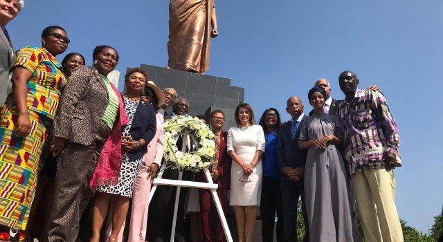 US Speaker Nancy Pelosi pay homage at Kwame Nkrumah Memorial Park