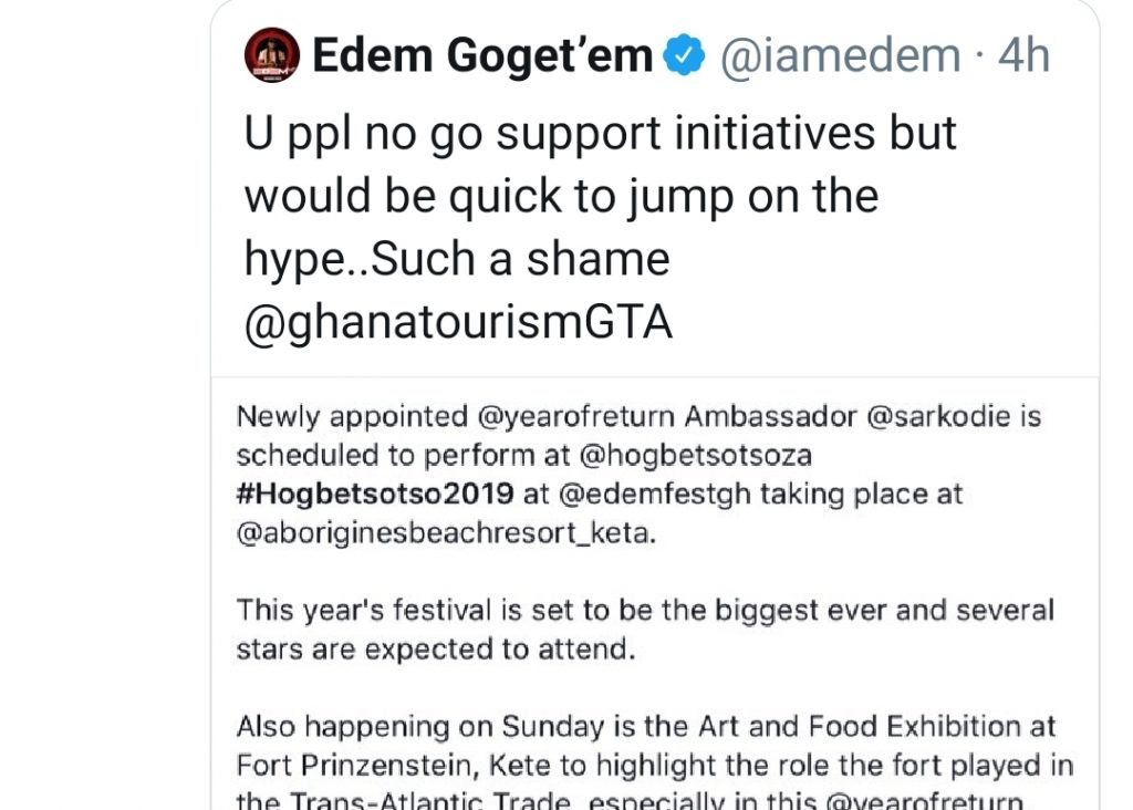 Rapper Edem Blasts Ghana Tourism Authority In Scathing Twitter Post