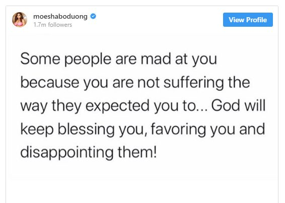 Moesha Bodoung responds to'Cancer' claims
