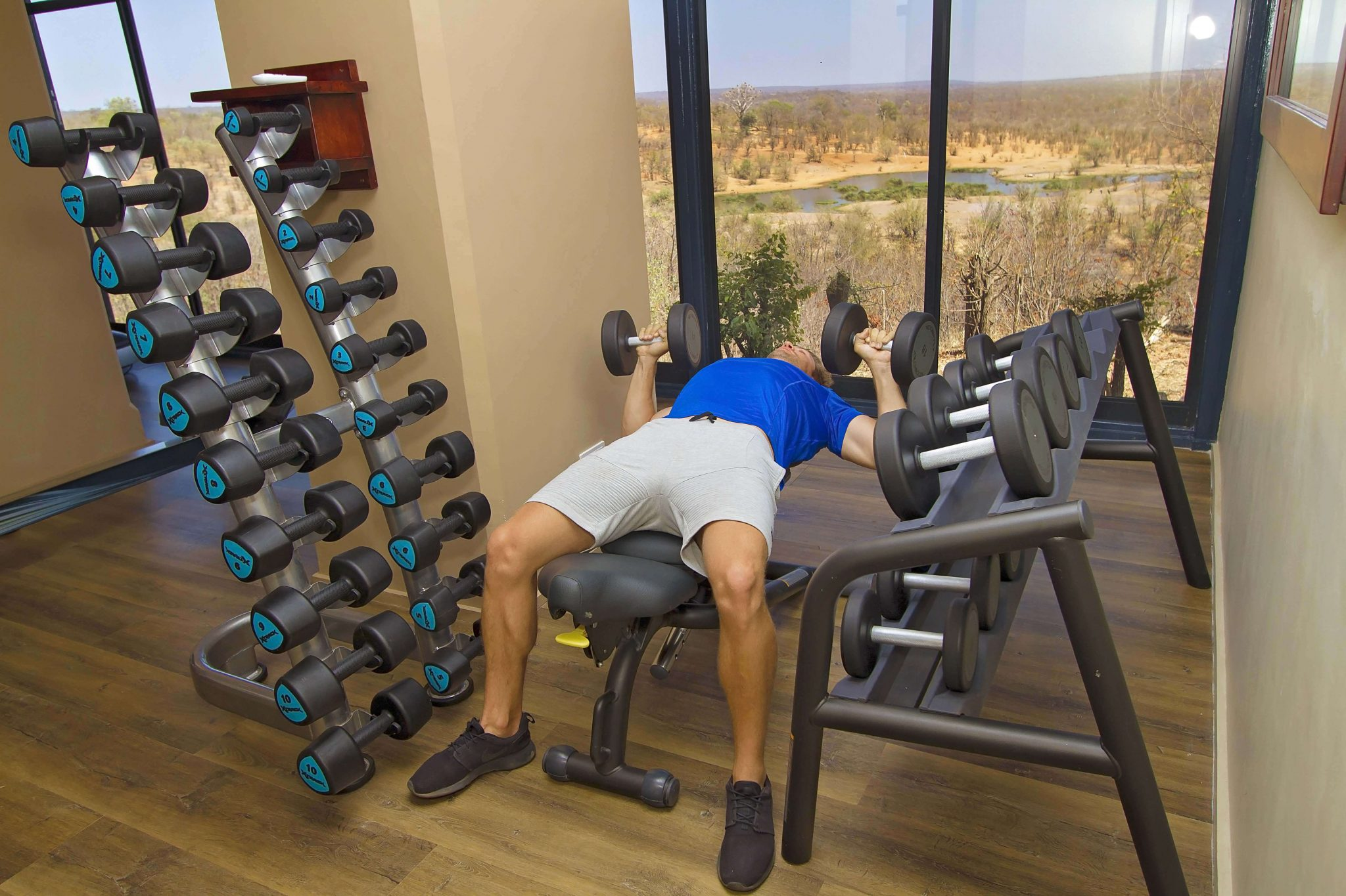 A fitness room with the finest work-out view at Victoria Falls Safari Lodge